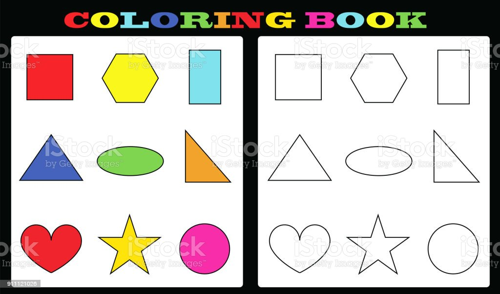Coloring Book Colorful Shapes And Empty Shapes For Painting
