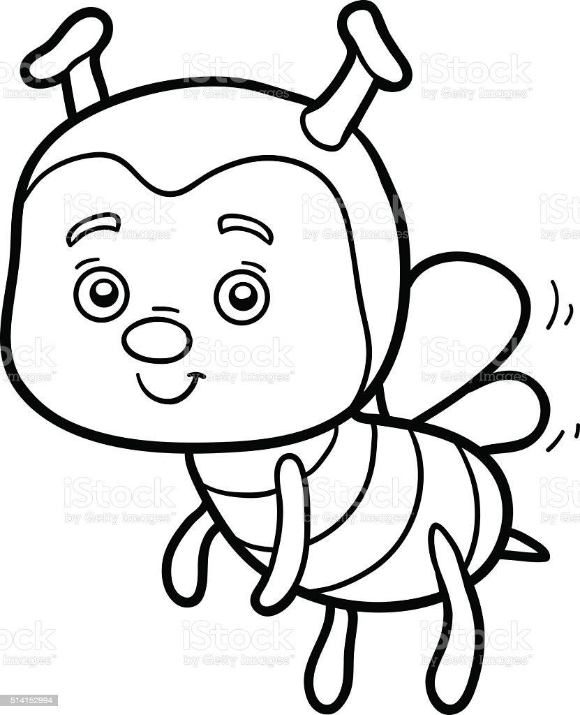 Colorear Libro Para Colorear Página Bee - Arte vectorial de stock y ...