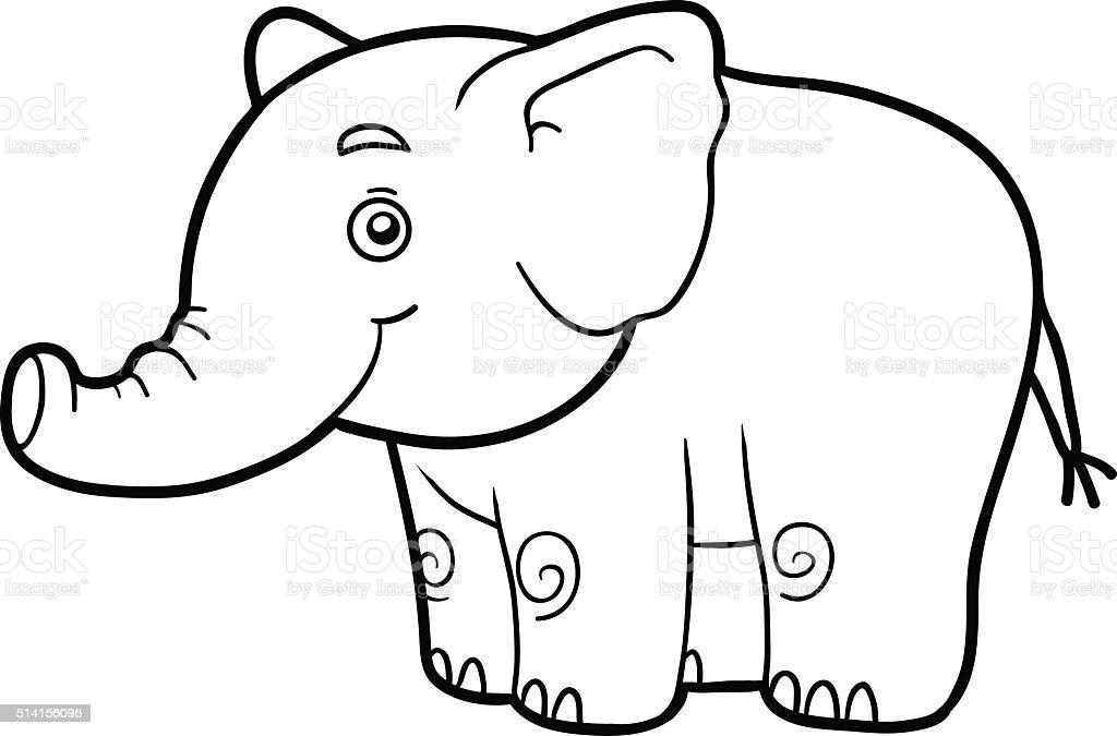 Ilustración de Colorear Libro Para Colorear Página Elephant y más ...
