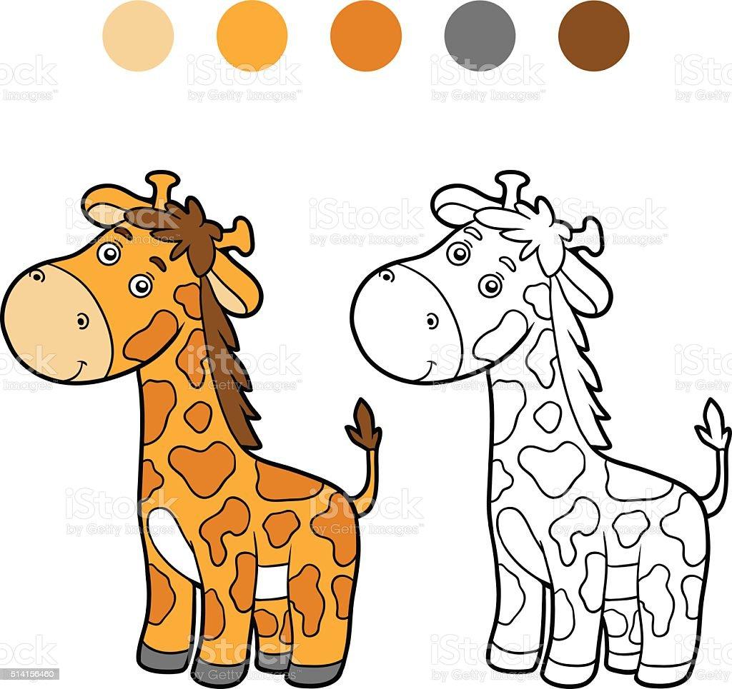 Ilustración de Colorear Libro Para Colorear Página Jirafa y más ...