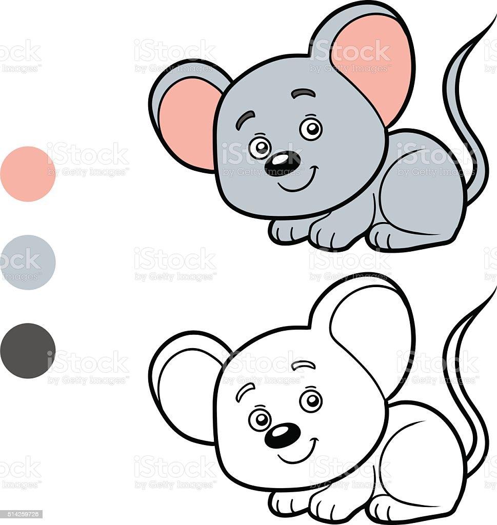 Ilustración de Colorear Libro Para Colorear Página Ratón y más banco ...