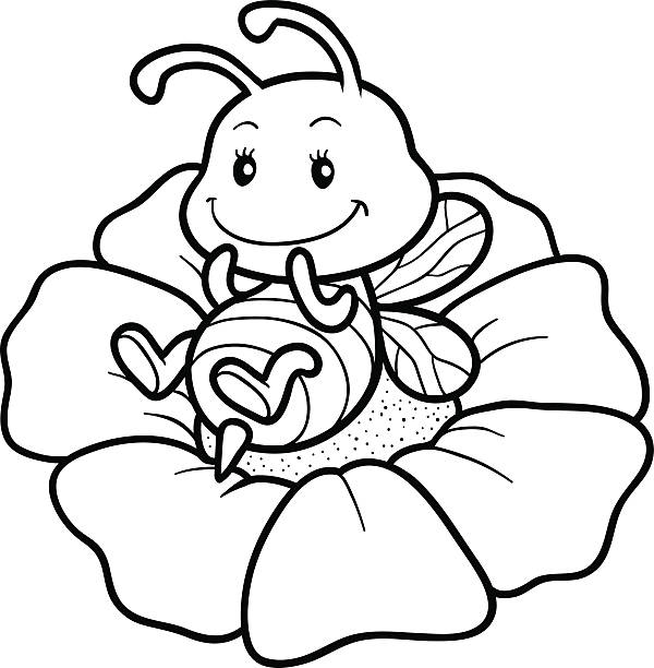 Small Bees With Chubby Coloring Picture For Kids
