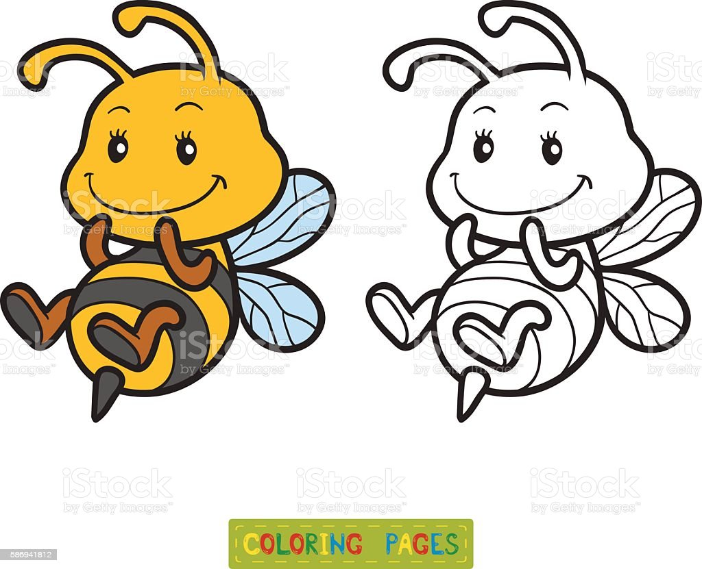 Coloring book, coloring page with a small bee – Vektorgrafik