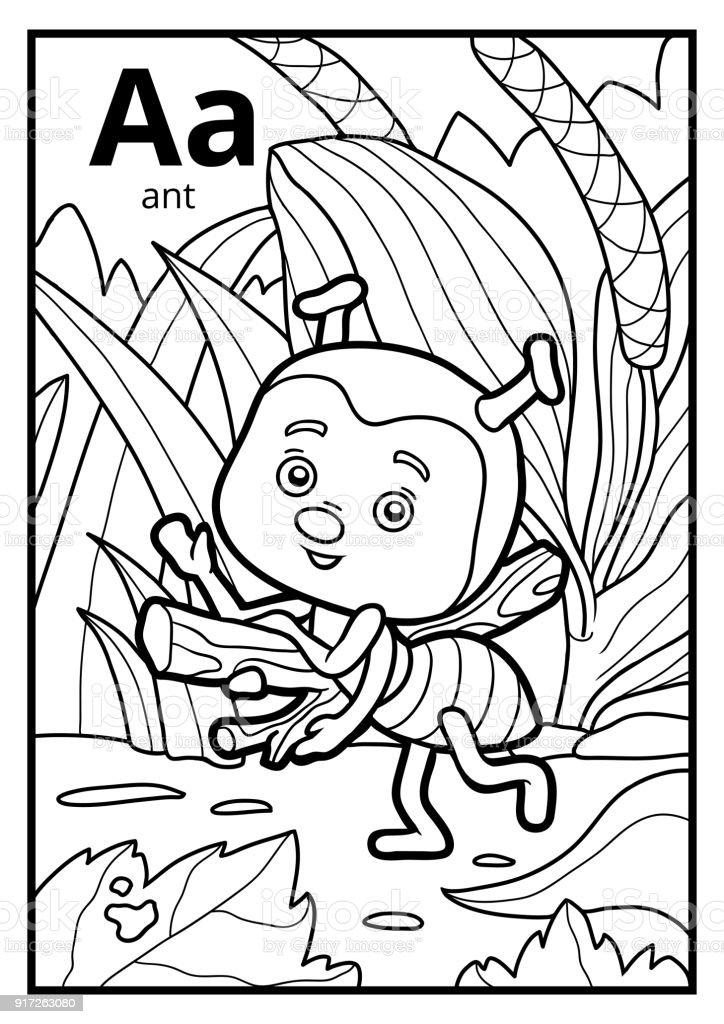 Boyama Kitabı Renksiz Alfabe A Harfi Karınca Stok Vektör Sanatı
