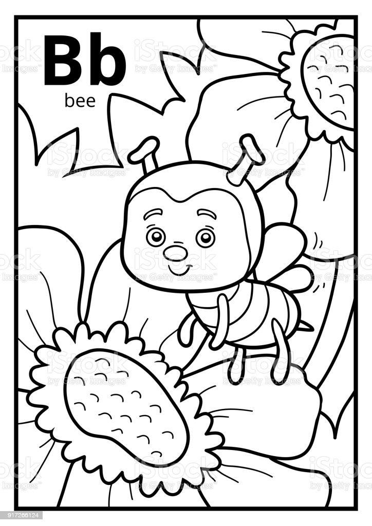 Malbuch, farblose Alphabet. Buchstabe B, Biene – Vektorgrafik