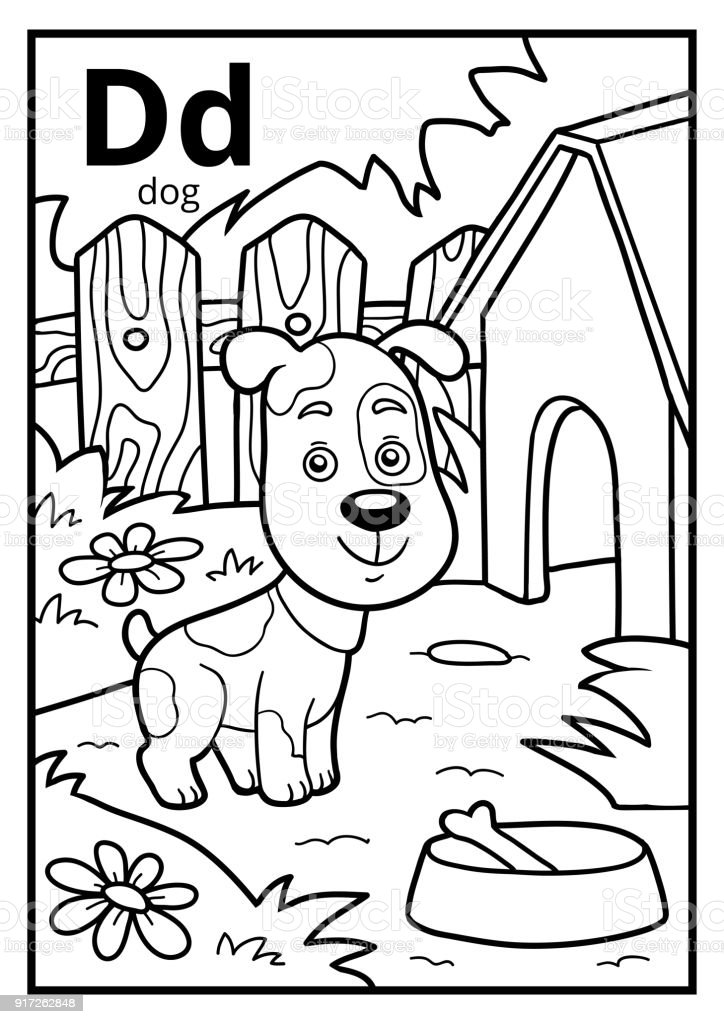 Malbuch Farblose Alphabet Buchstabe D Hund Stock Vektor Art Und Mehr