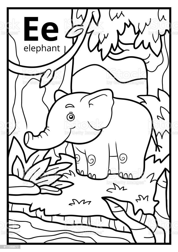 Ilustración de Libro Para Colorear Alfabeto Descolorido Letra E ...