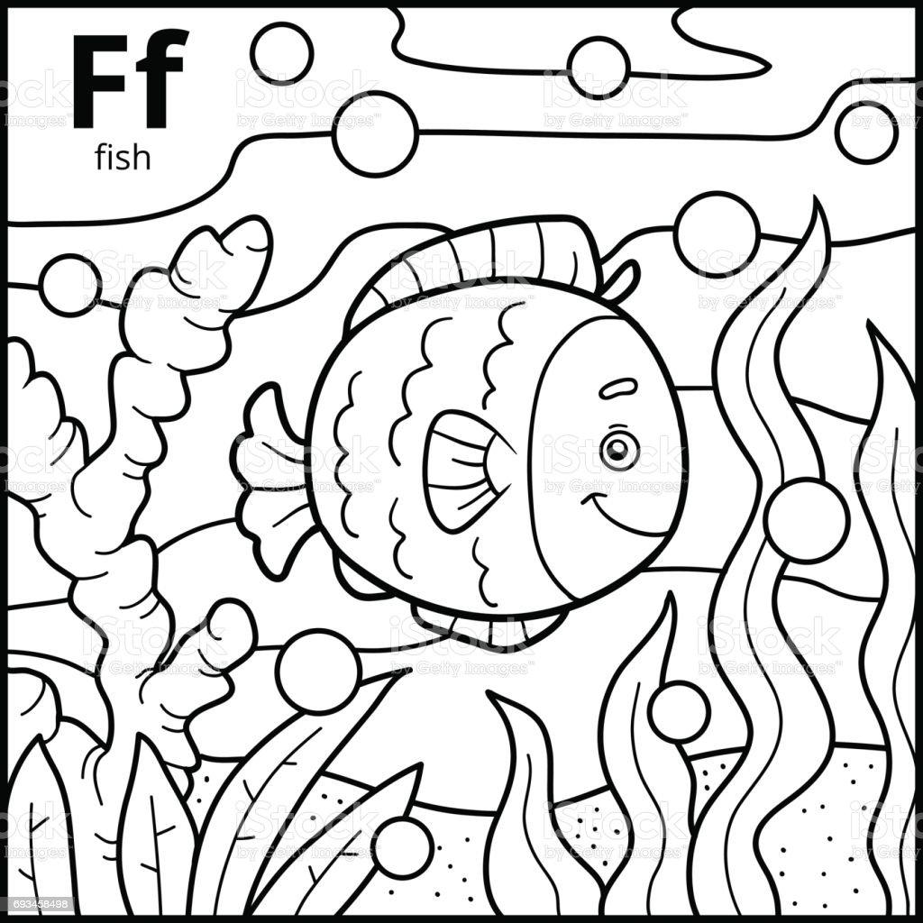 Boyama Kitabı Renksiz Alfabe Harf F Balık Stok Vektör Sanatı