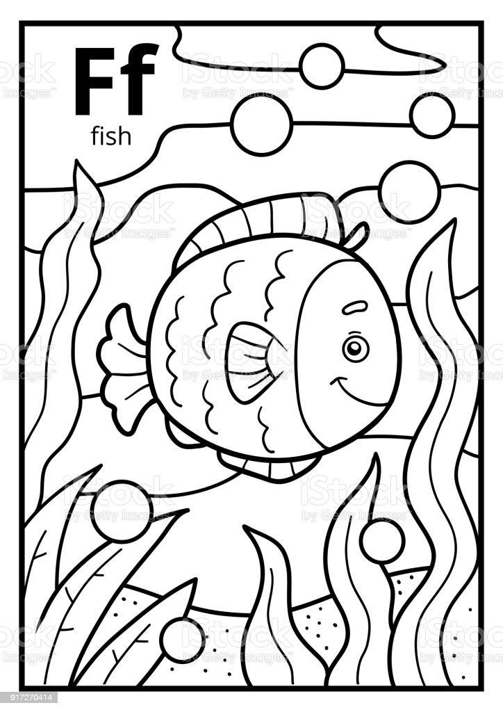 Malbuch Farblose Alphabet Buchstabe F Fisch Stock Vektor Art und ...