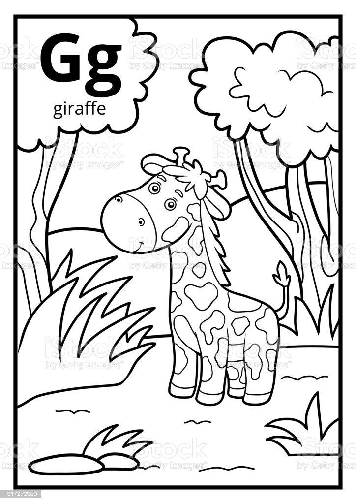 Ilustración de Libro Para Colorear Alfabeto Descolorido Letra G ...