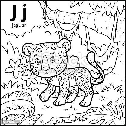 Ilustración de Libro Para Colorear Alfabeto Descolorido Letra J ...