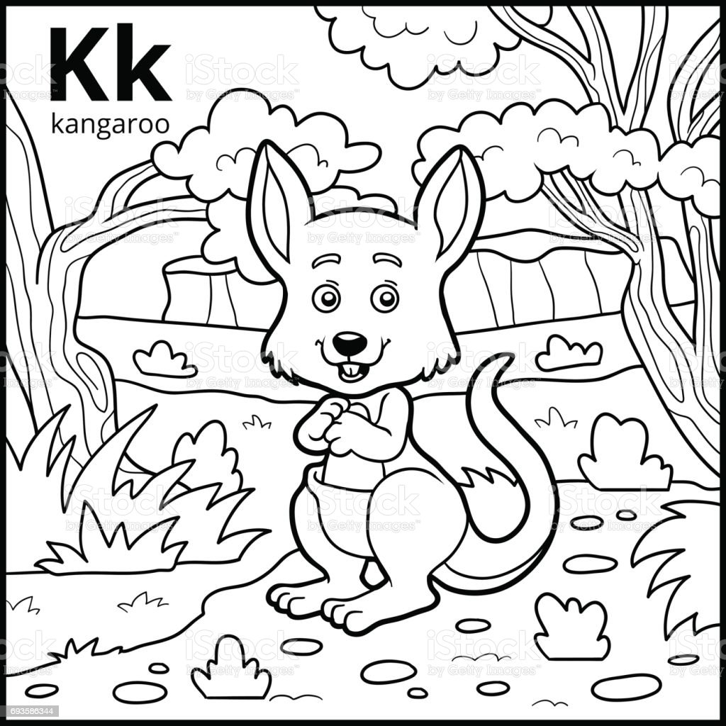 - Coloring Book Colorless Alphabet Letter K Kangaroo Stock
