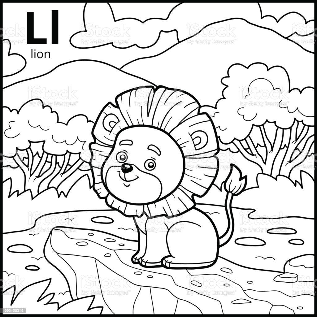 Ilustración de Libro Para Colorear Alfabeto Descolorido Letra L León ...