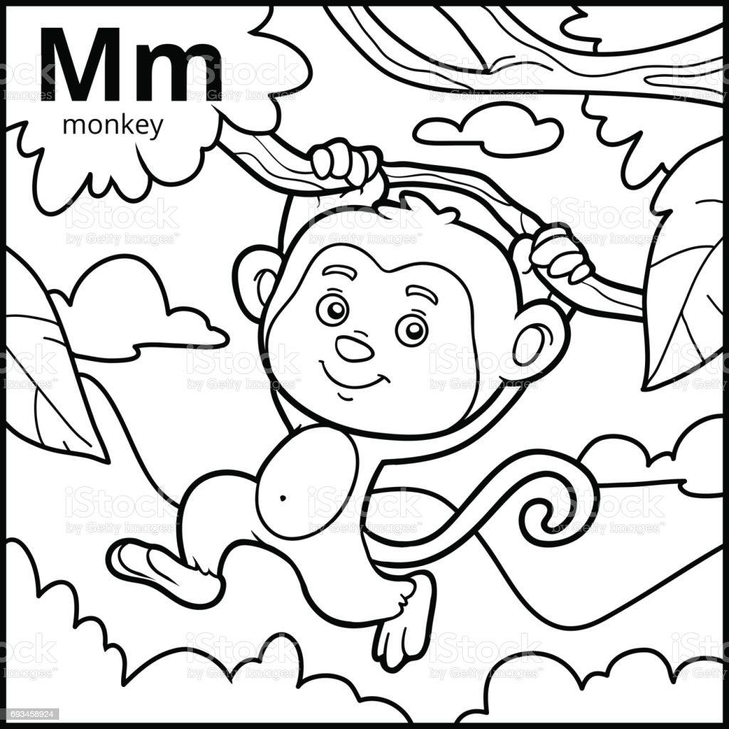 Ilustración de Libro Para Colorear Alfabeto Descolorido Letra M Mono ...