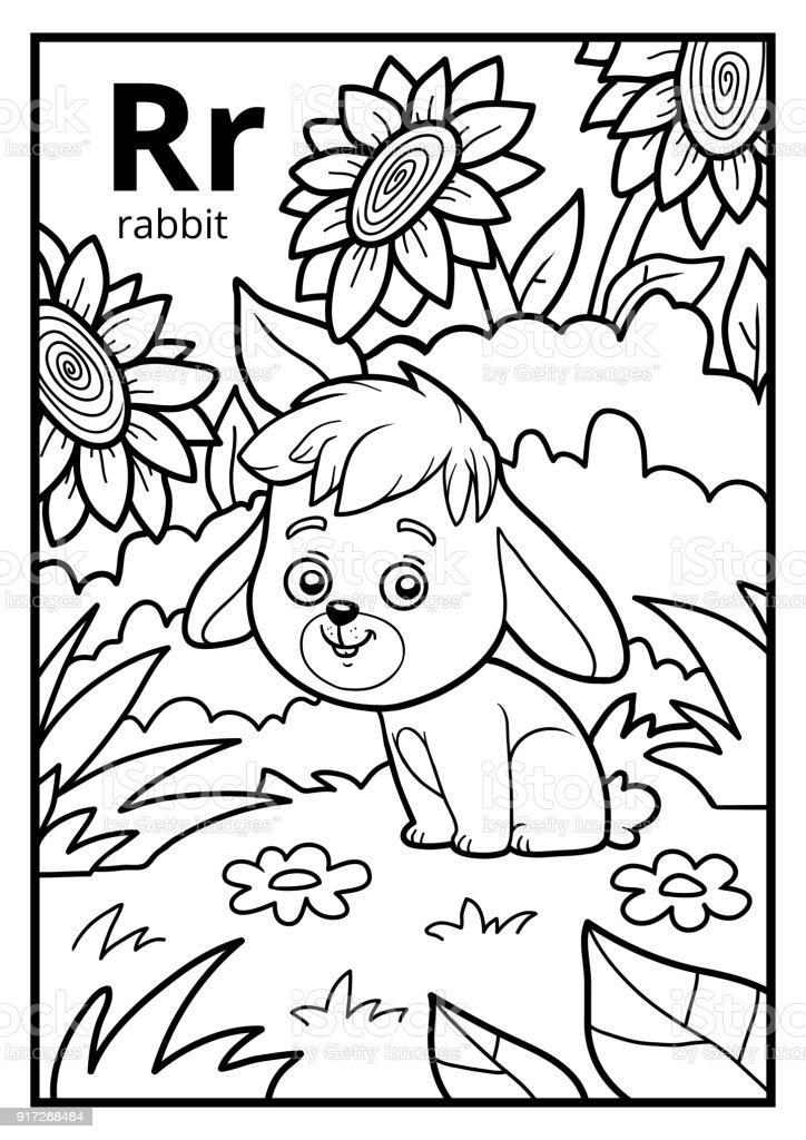 Ilustración de Libro Para Colorear Alfabeto Descolorido Letra R ...