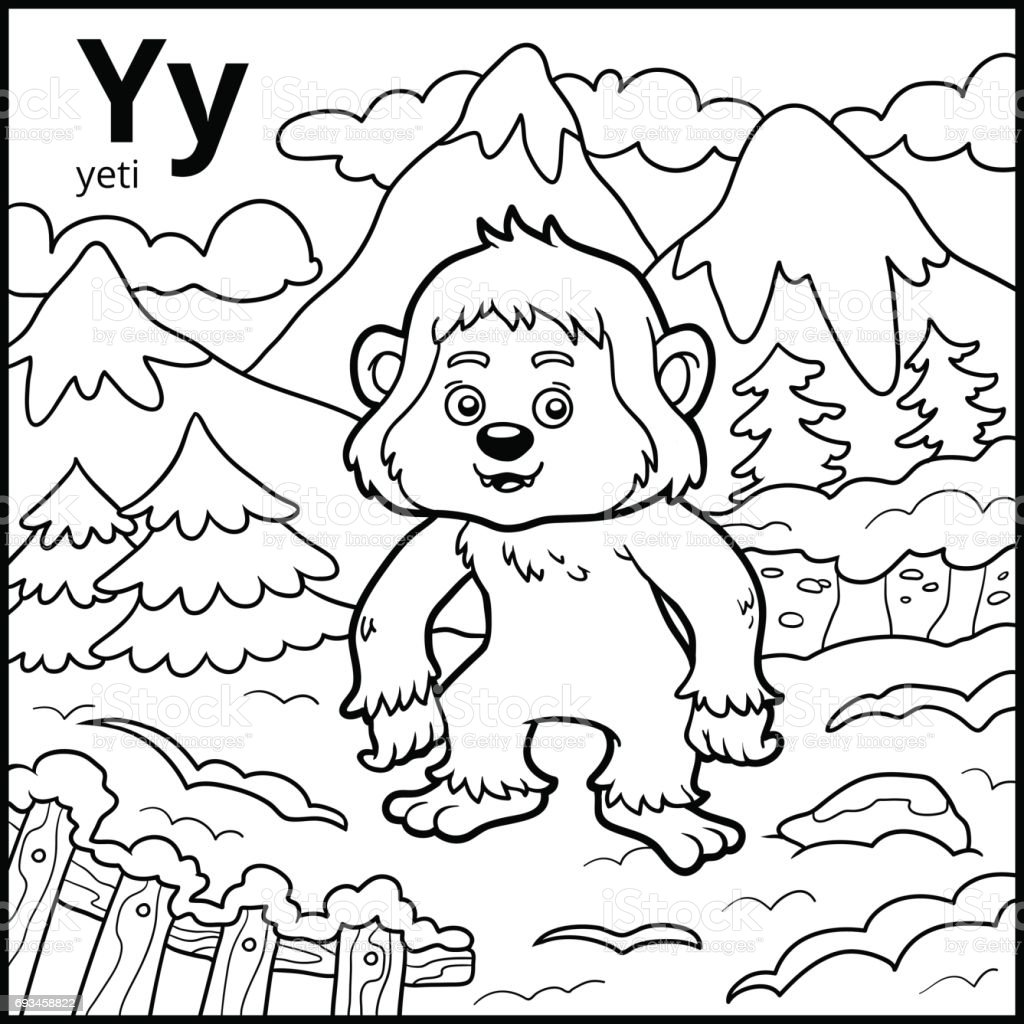 Coloring Book Colorless Alphabet Letter Y Yeti Royalty Free
