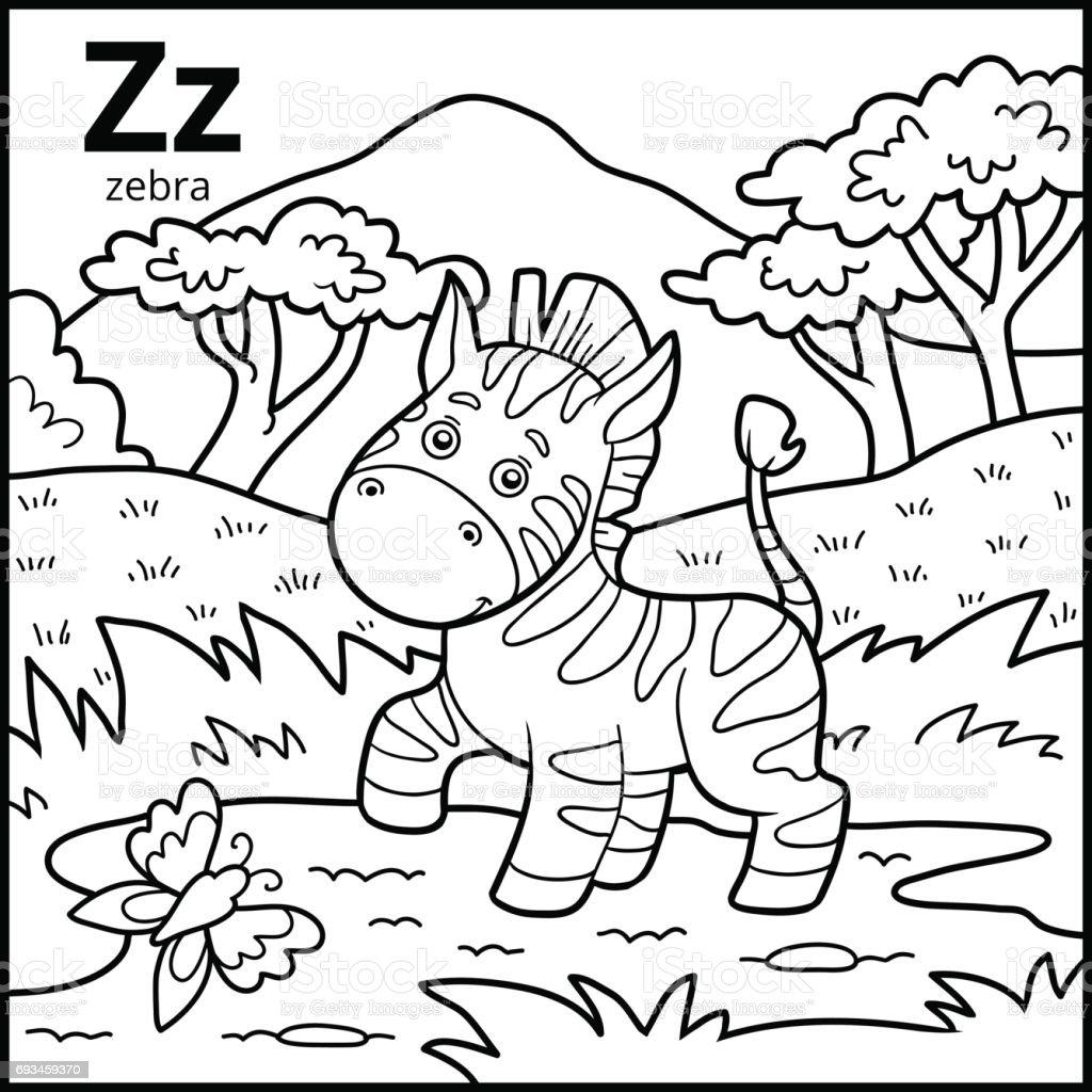 Ilustración De Libro Para Colorear Alfabeto Descolorido
