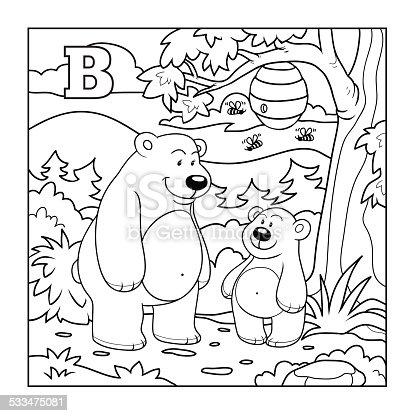 Ilustración de Libro Para Colorear Incoloro Letra B y más banco de ...