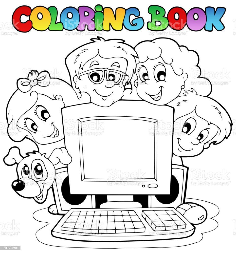 Ilustración De Libro Para Colorear Computadora Y Los Niños Y Más