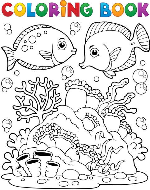 カラーブックコーラルリーフテーマ 1 - お絵かき点のイラスト素材/クリップアート素材/マンガ素材/アイコン素材