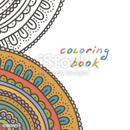Coloring book cover. Hand drawn ornament background.