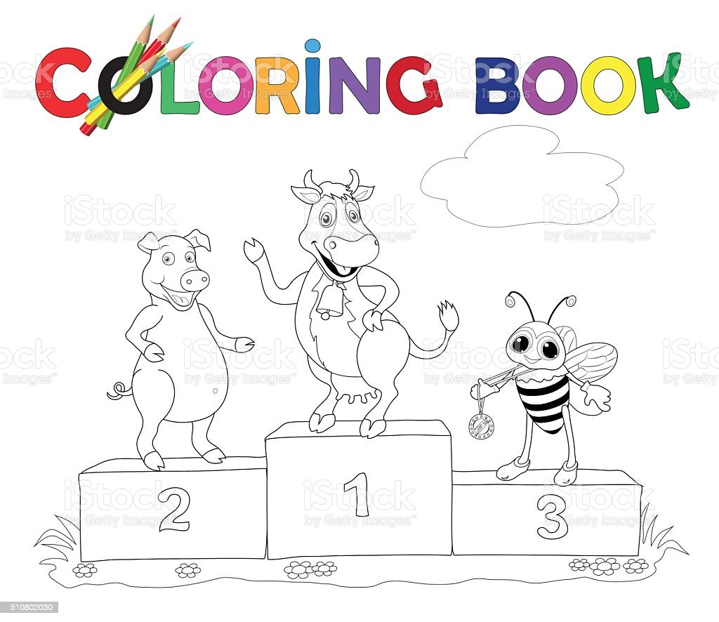 Coloring Book Cow Pig And Bee On The Podium Stock Vector Art & More ...