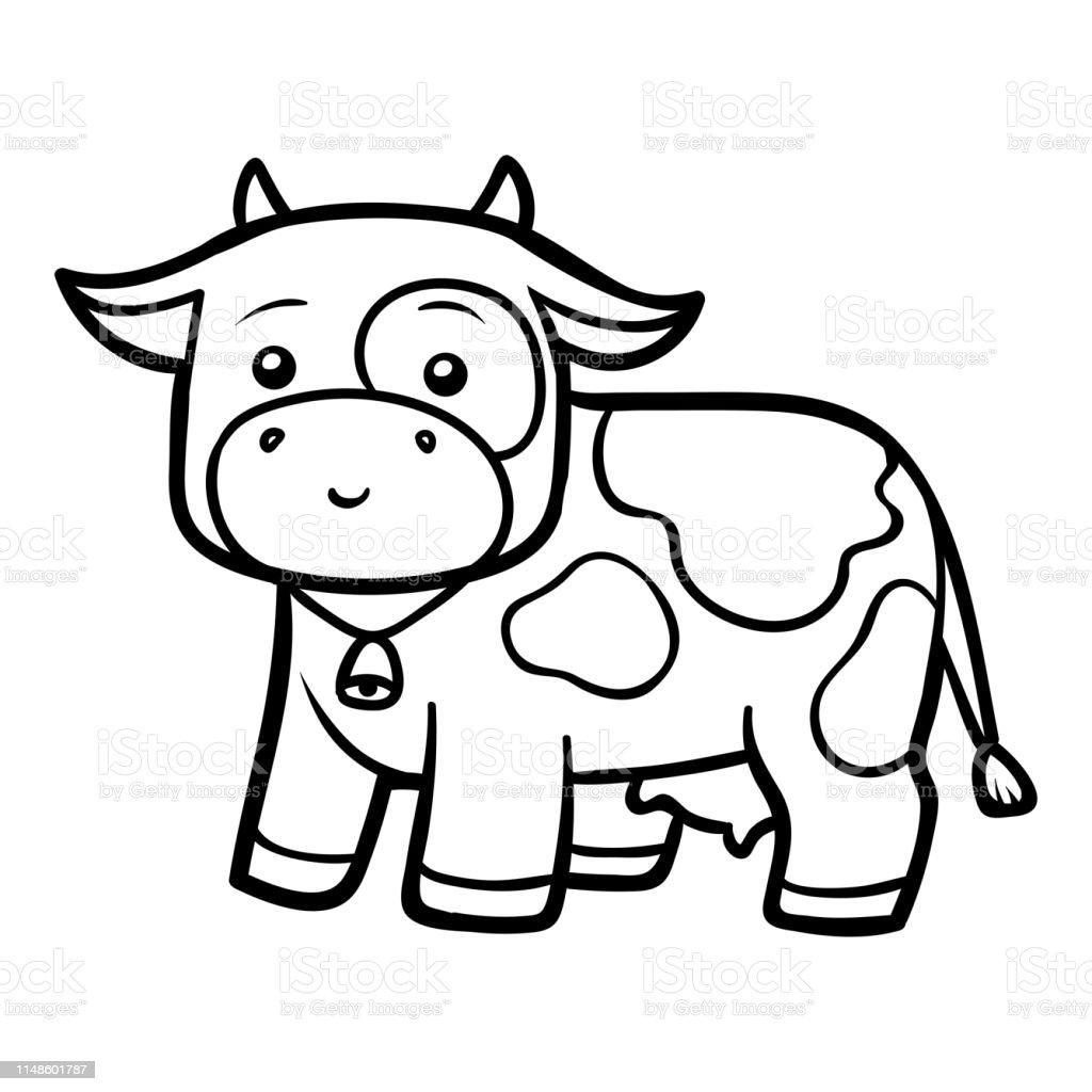 Boyama Kitabi Cow Stok Vektor Sanati Anaokulu Nin Daha Fazla