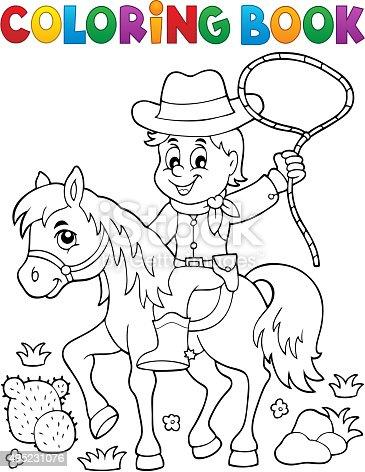 Libro Para Colorear Cowboy A Horse Tema 1 Illustracion Libre de ...