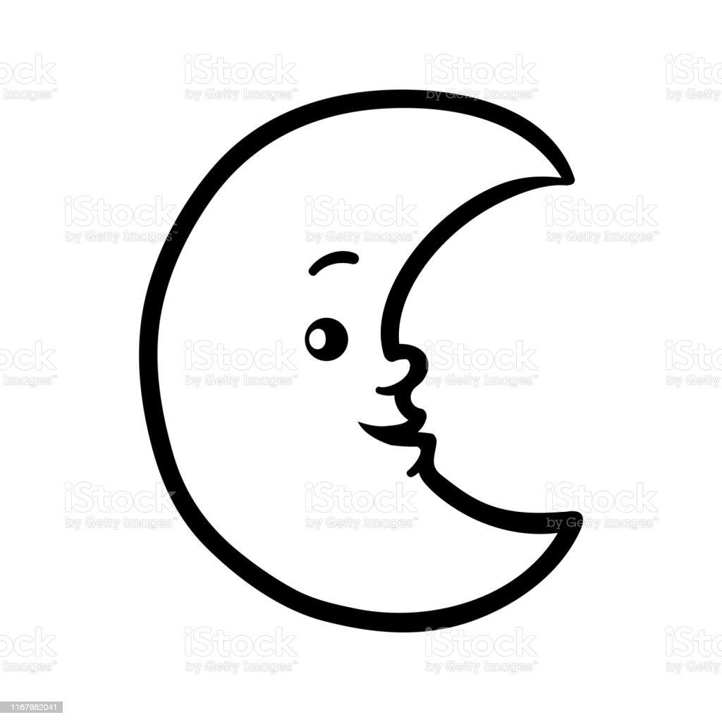 Ilustración De Libro Para Colorear Media Luna Con Una Cara