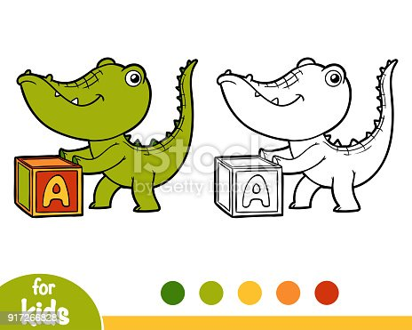 Ilustración de Cubo Cocodrilo Y Libro Para Colorear y más banco de ...