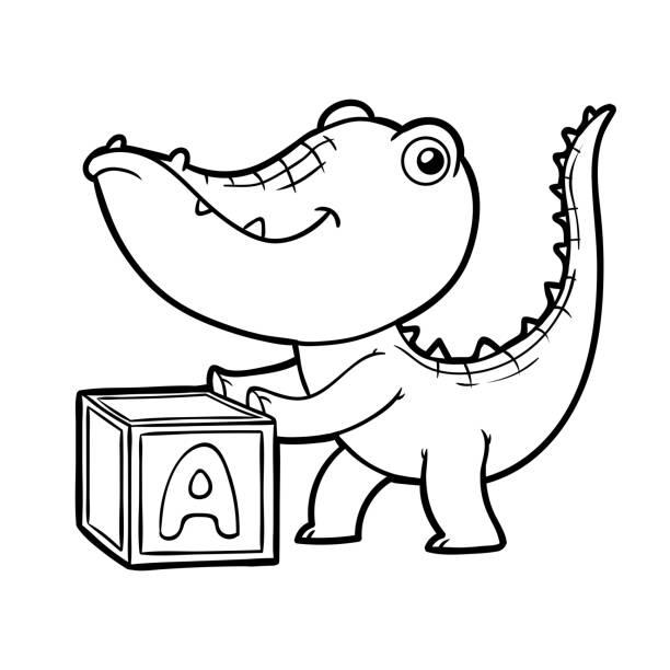 Alligator Swamp Cartoon Vector Illustrations, Royalty-Free