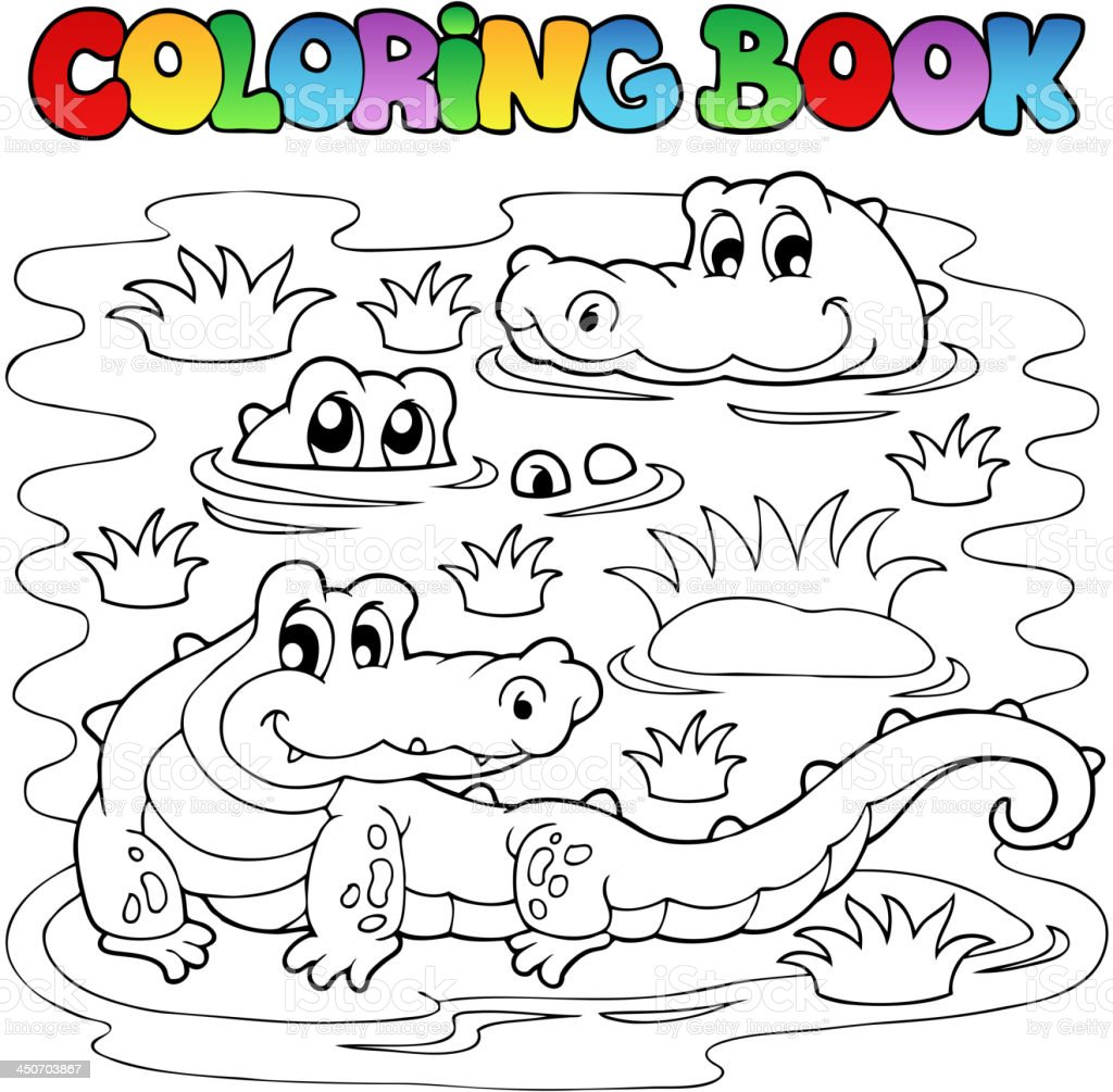 Coloring book crocodile image 1 royalty-free stock vector art