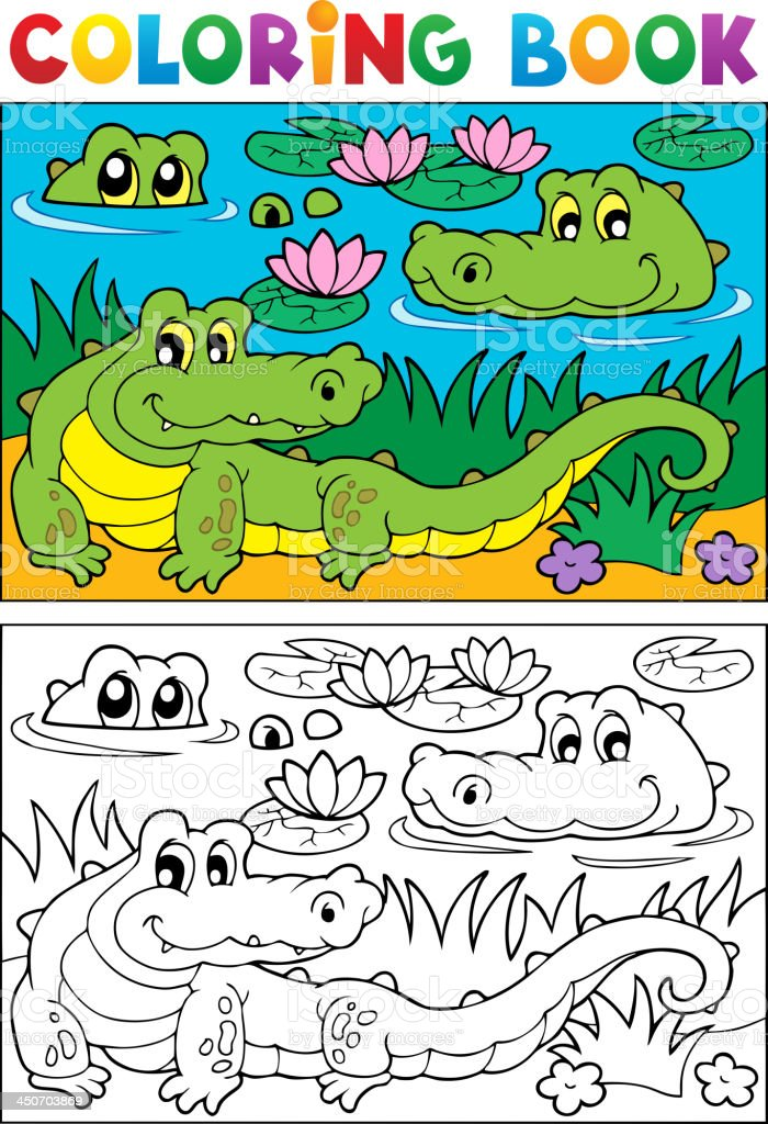 Coloring book crocodile image 2 royalty-free stock vector art