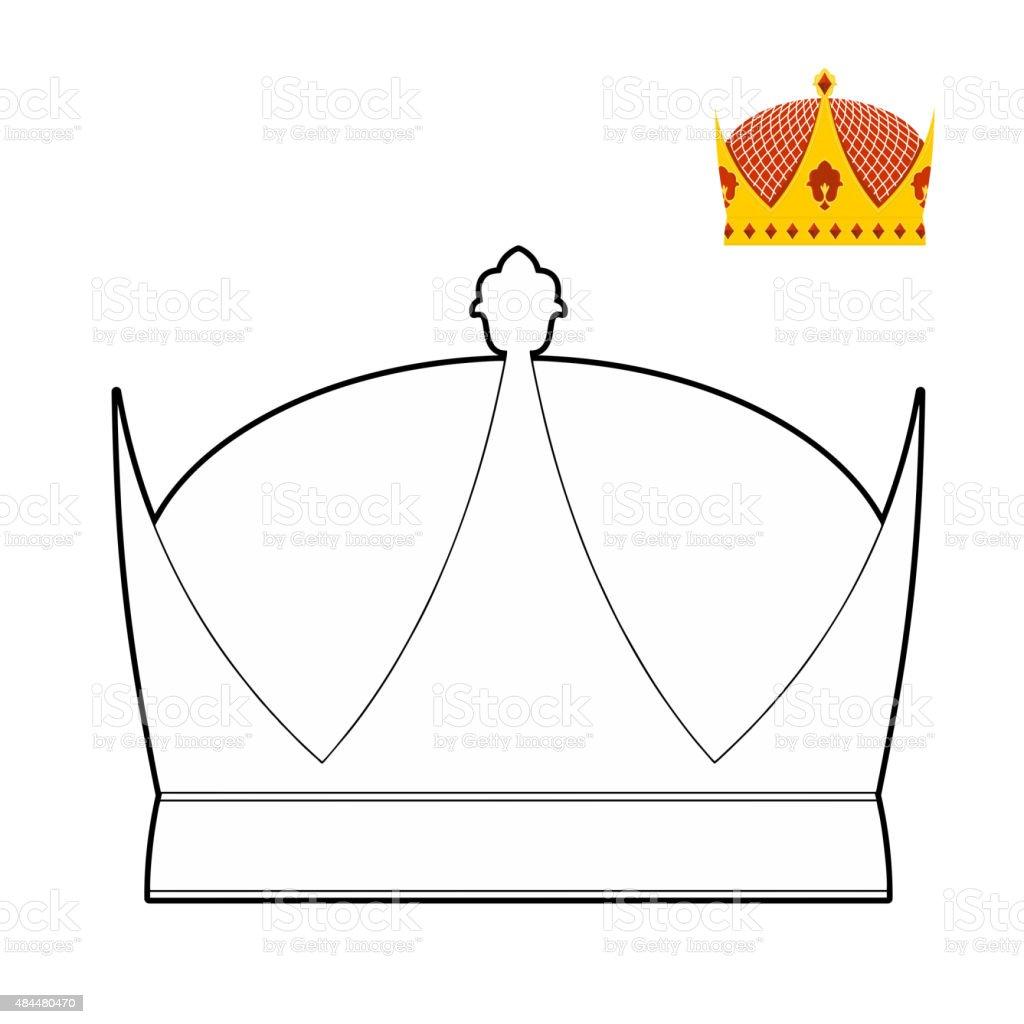 Ilustración de Libro Para Colorear Corona Corona Real Sombrero Con ...