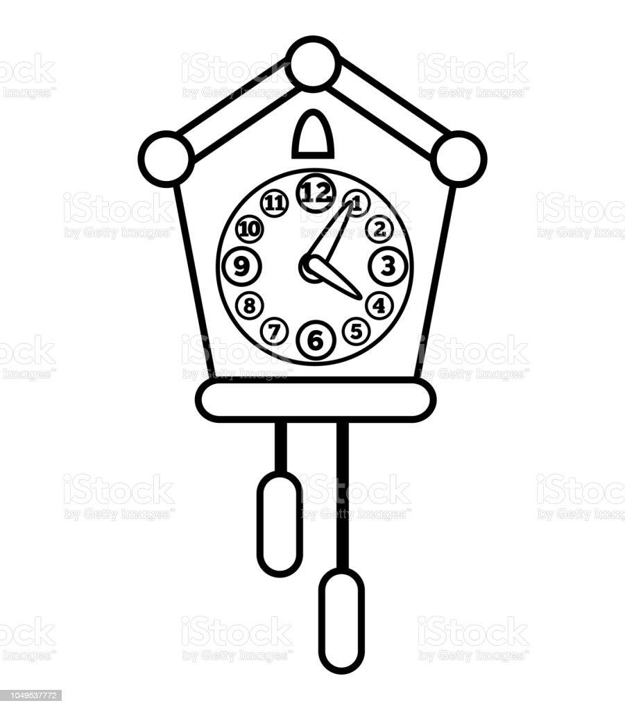 Ilustración De Libro De Colorear Reloj De Cuco Y Más Vectores Libres