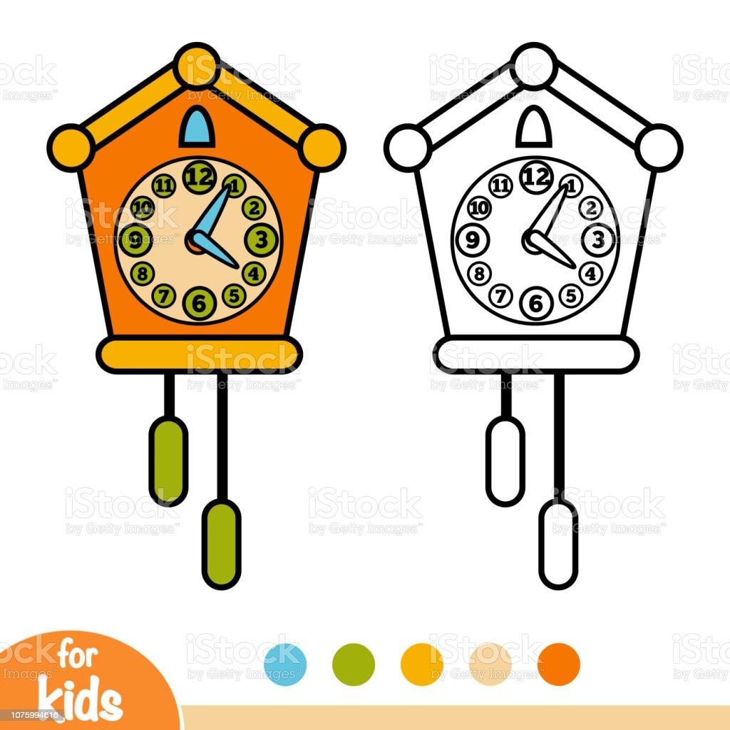 Ilustración De Libro De Colorear Reloj De Cuco Y Más