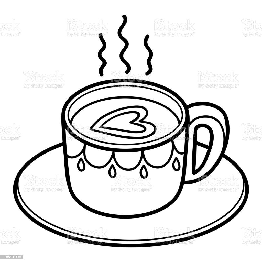 Ilustración De Libro Para Colorear Taza De Café Y Más