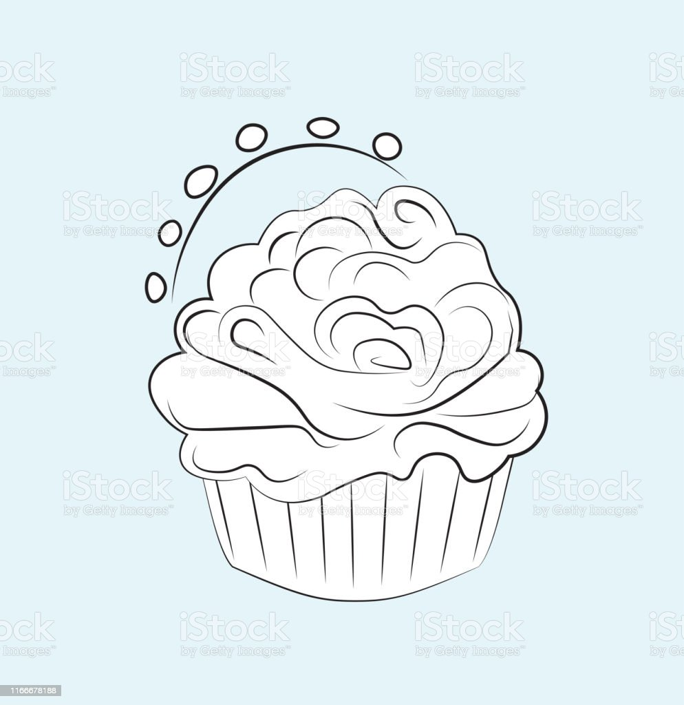 - Coloring Book Cupcake Stock Illustration - Download Image Now - IStock