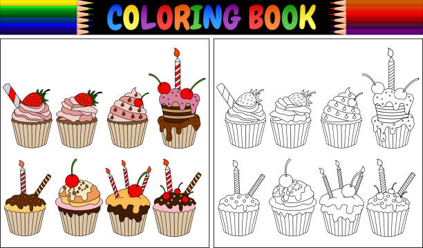 Royalty Free Cupcake Coloring Pages Clip Art, Vector Images ...