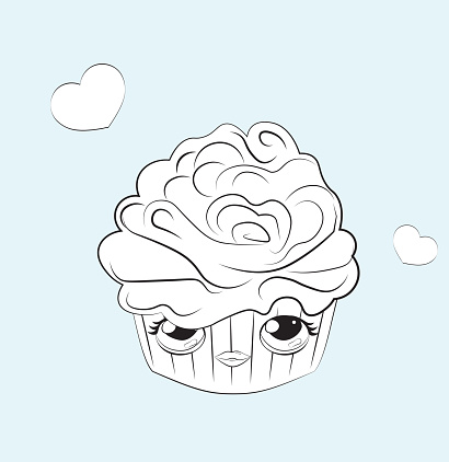 Coloring book cupcake with funy face