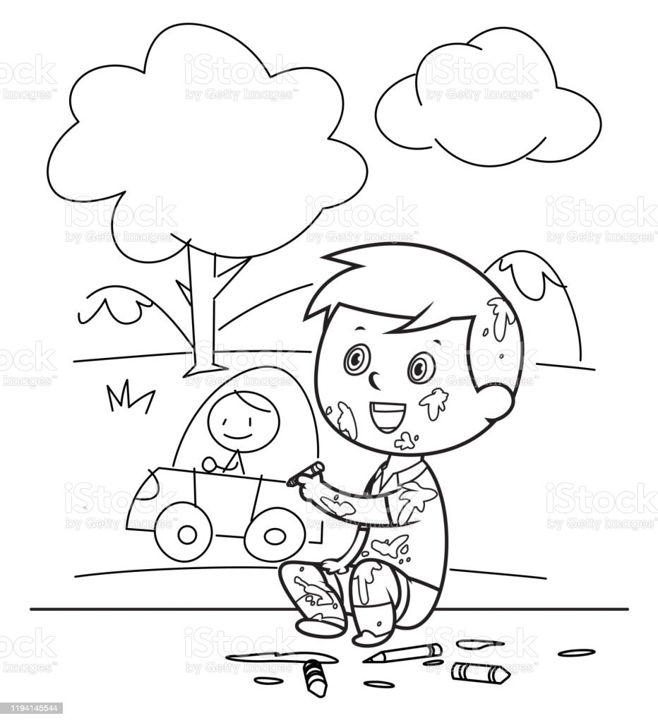 - Coloring Book Cute Boy Painting And Drawings On The Wall Stock