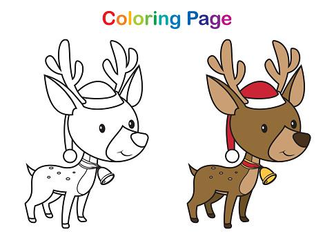 Coloring book, Cute Christmas reindeer