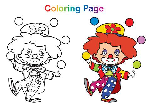 Coloring book: cute clown