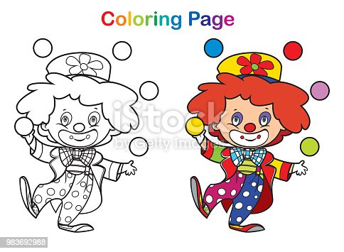 istock Coloring book: cute clown 983692988