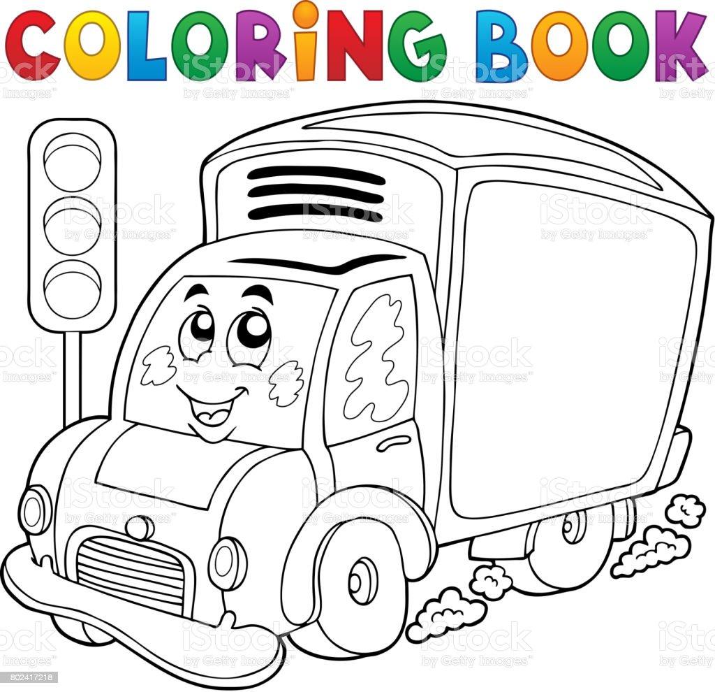 Boyama Kitabı Sevimli Teslim Araba Stok Vektör Sanatı Araba