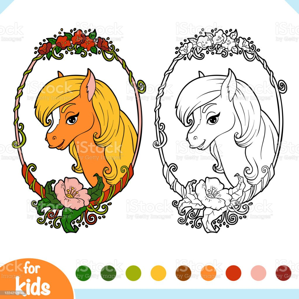 Coloring Book Cute Horse In A Floral Frame Stock Illustration Download Image Now Istock