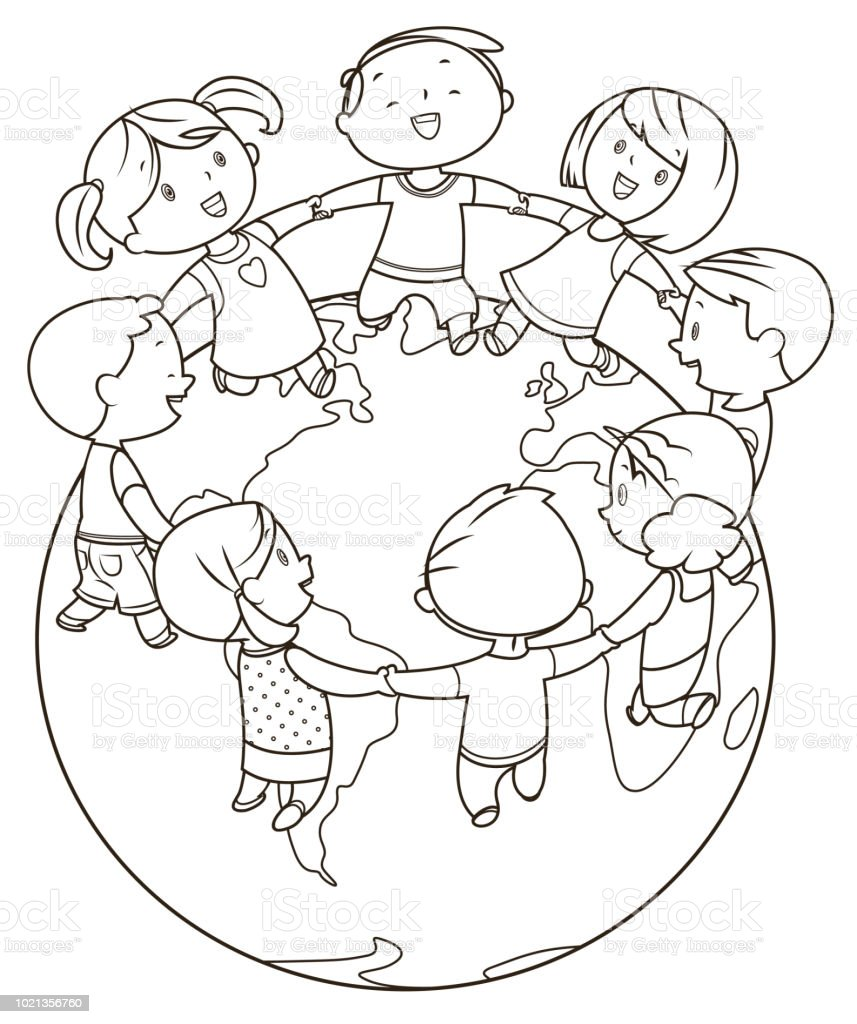 Coloring Book Cute Kids Holding Hands And Dancing Around The World ...