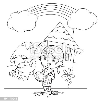 Vector Coloring Book, Cute kids painting and drawings on the wall