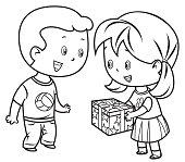 Vector Coloring Book, Cute Little girl giving present to a boy