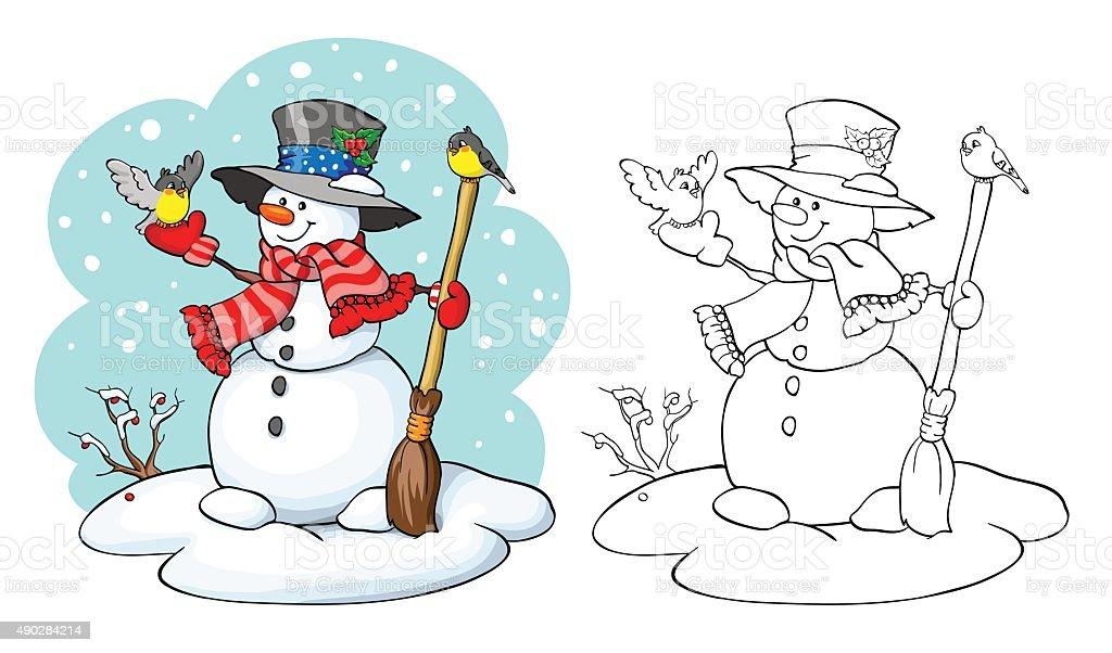 Ilustración de Libro Para Colorear Linda Muñeco De Nieve Con Escoba ...